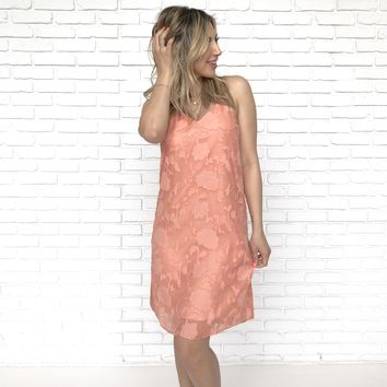 Skinny Dip Floral Shift Dress in Coral