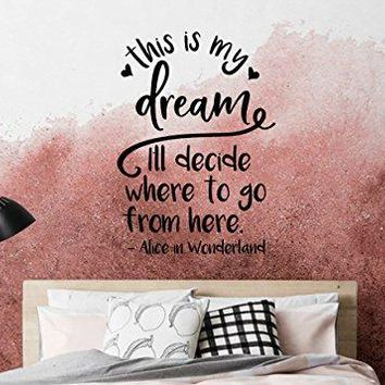 "Lucky Girl Decals Inspired by Alice In Wonderland This Is My Dream I'll Decide Where To Go From Here Vinyl Wall Decal Sticker 21"" w x 29.5"" h"