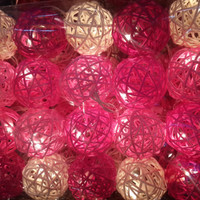 20 lights with beautiful pink light pink rattan ball hanging string light mix color shaded outdoor patio lantern