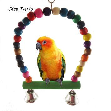 2017 New Arrival Colorful Pet Bird Parrot Parakeet Budgie Cockatiel Cage Hammock Swing Toys Hanging Toy Cute Nest For Parrot