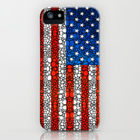 American Flag - USA Stone Rock'd Art United States Of America iPhone & iPod Case by Sharon Cummings