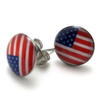 Stainless Steel American Flag Stud Earrings