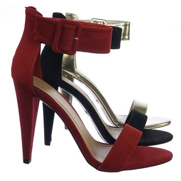 Smashing08 Plain High Heel Open Toe Dress Sandal w Thick Adjustable Ankle Strap