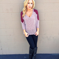 Burgundy Knit Lightweight Sweater Top