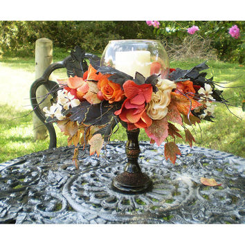 floral centerpiece Halloween decoration Thanksgiving centerpiece Autumn Fall home decor Samhain