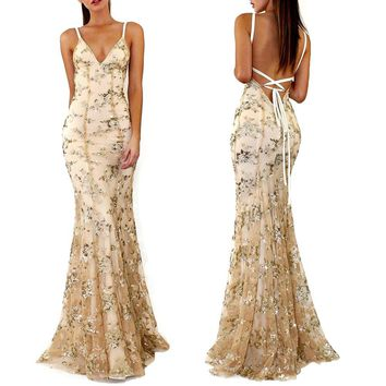 Women Sexy Sequins Floral Bandage Long Dress Slim Deep V Neck Backless Spaghetti Strap Lace Up Party Club Maxi Dress