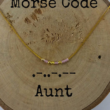 AUNT Morse Code Necklaces, Secret Message, Dainty necklace, Minimalist, Morse code jewelry, gold necklace, aunt auntie gift