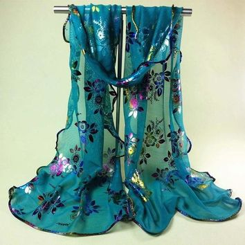 STYLEDOME Vintage Colorful Flower Lace Gauze Veil Wrap Scarf Shawl Wrap