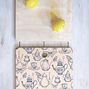 Pimlada Phuapradit Tea with butterflies Cutting Board Square