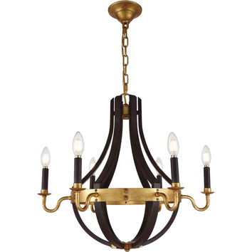 Woodland 6-Light Chandelier, Saddle Rust & Golden Iron Finish