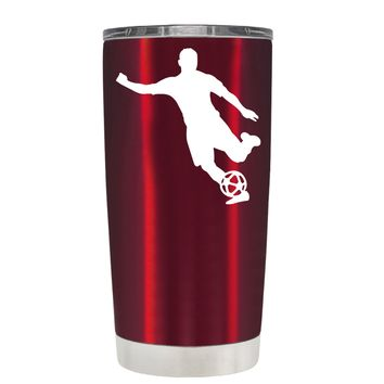 TREK Soccer Player Silhouette on Translucent Red 20 oz Tumbler Cup