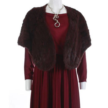 Vintage Mink Stole Caplet Burgundy Red Fur 50s 60s Vintage Alaska Arctic Fur Coat Retro Vintage Clothing Women's - One Size Fits All OSFA OS