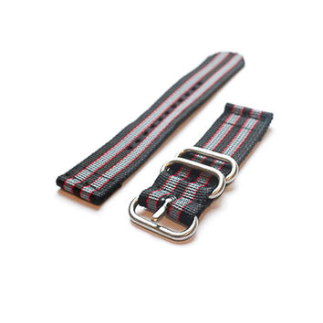 "Smart Watch Strap Black Red and Grey ""James Bond"""