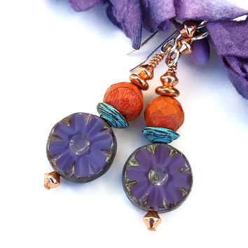 Purple Flower and Orange Coral Handmade Earrings, Turquoise Mykonos Dangle Boho Earrings