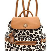 Tory Burch Kerrington Backpack Daypack Ocelot Leopard