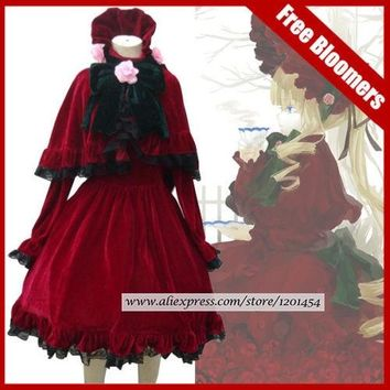 Rozen Maiden Shinku Lolita dress Cosplay Costume Dress+pannier+short pants Little Red Riding Hood