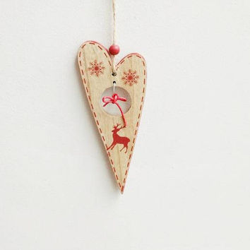 Wooden heart ornament, natural wood, Christmas tree, heart ornament with red snowflakes and reindeer decor,  whimsical, Xmas wooden heart