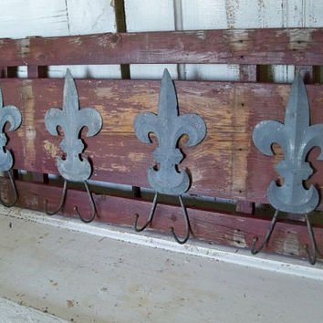 Chippy paint barnwood recycled rack zinc Fleur-de-Lis hooks French distressed decor Anita Spero