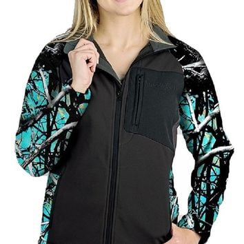 Muddy Girl Moonshine JP Camo Ladies Womens Zipper Hardshell Jacket Coat Black
