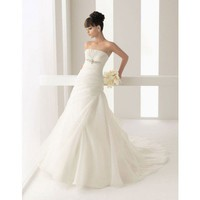 Fashionable strapless dropped waist organza wedding dress