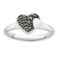 Sterling Silver Stackable Expressions Marcasite Heart Ring: RingSize: 8