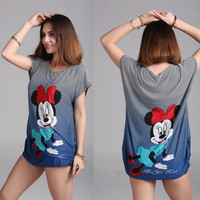 XXXL Minnie Mickey T Shirt Dress Plus Size Women Mouse Printing Long T shirt Long Style Loose Casual  Tees Sweet Minnie Tops