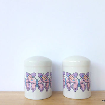 Purple and Pink Butterfly Salt and Pepper Shakers 1988 Interpur Ceramic Salt and Pepper Set Butterfly Decor