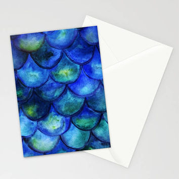 Mermaid Stationary Set, Blue Ocean Stationary, Mermaid Note Cards, Blue Notecards, Thank You Cards, Mermaid Theme Gift, Mermaid Invites