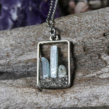 Pyrite & Kyanite Necklace, Blue Crystal Necklace, Raw Stone Jewelry, Rectangle, Chakra Jewelry, Rough Blue Gemstone Pendant, Boho Chic Style
