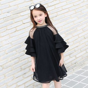 2017 Summer Half Sleeve Girls Party Dress O-Neck Children Clothes Kids Lace Net Yarn Princess Dress For Teens 8 9 10 11 12 13 14