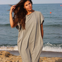 XXL XXXL Light Grey oversized plus size elastic cotton caftan dress/ Cover up Dress / Tunic dress /Sun dress/Casual dress/Everyday dress