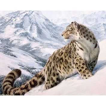 Frameless America Leopard DIY Painting By Numbers Handpainted Oil Painting Home Decor Wall Art Picture For Living Room 40x50cm