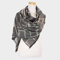 Women's Grey Multi-Color Geometric Pattern Scarf