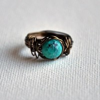 Rustic Turquoise Vintage Bronze Wire Wrapped Ring