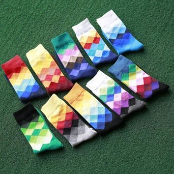 ac NOOW2 Cool Men's Happy Socks Plaid Calcetines Color Gradient Colorful Socks Classic Casual Long Hip Hop Socks Chaussette Homme