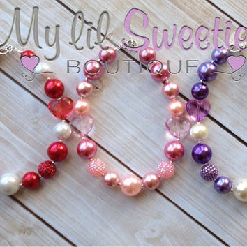 Pick 1 Red, pink or purple hearts chunky necklace, girls jewelry, children's necklace, bubblegum jewelry, bubblegum necklace
