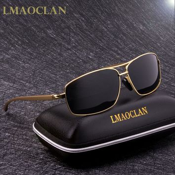 LMAOCLAN Brand Aluminium Magnesium Polarized Gold Sunglasses Men UV400 Classic Male Square Glasses Driving Eyewear Gafas Oculos