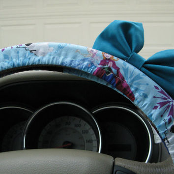 The Original Disney's Frozen Inspired ELSA Steering Wheel Cover with Matching Bright Brink Pink Bow
