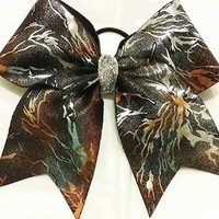 CHEERLEADING BOW - ORANGE LIGHTINING FULL CHEER BOW (silver center) - BIG 3 inch wide base Cheer bow on elastic PONY-O team orders available by request