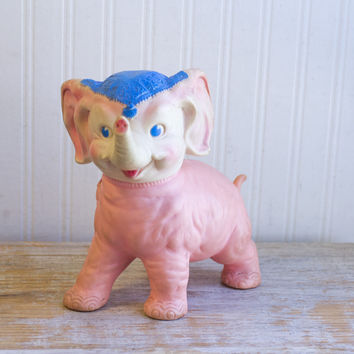 Vintage Pink Elephant Rubber Squeak Toy - 1961 Works Great