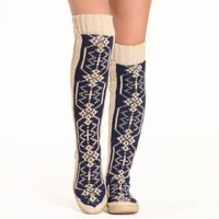 Gypsyz Snowflake knitted knee high shoes at ShopRuche.com, Vintage Inspired Clothing, Affordable Clothes, Eco friendly Fashion