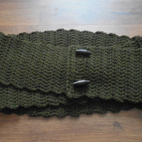 Ready to Ship:Olive Green Wool Unisex Convertible Infinity Scarf - Cowl - Neckwarmer