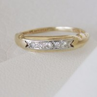 14k 18k Solid Gold Antique white Vintage Natural Diamond wedding band ring Deco