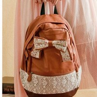Fashion Brown Lace Backpack with Red Floral Bow  from styleonline
