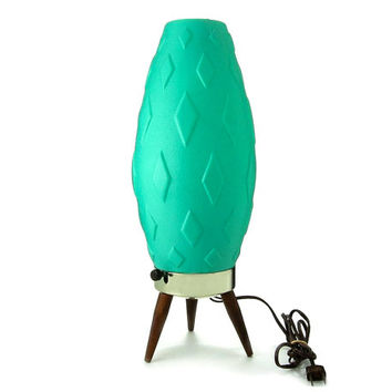 Mid Century Lamp / Turquoise Teal Green / Danish Modern Atomic Tripod Lighting / Space Age