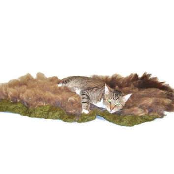 Wool Cat Bed Humane Felted Fleece Rug - Painted Desert/Lincoln - Ready to Ship -  Not a SheepSkin - This is Better