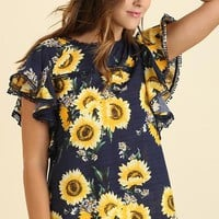 Sunflower Top - Navy Mix