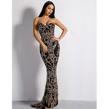 ADALICIA Women's Off Shoulders Retro Geometrical Detailed Sequins Gown