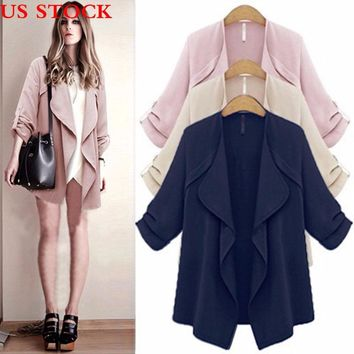Women's Long Sleeve Plus Size Loose Knitted Sweater Jumper Cardigan Outwear Coat