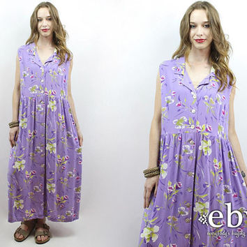 90s Maxi Dress Purple Floral Dress Purple Dress 1990s Dress 90s Dress Floral Maxi Dress Summer Dress Plus Size Dress Plus Size Vintage XL 1X